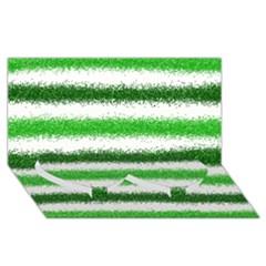 Metallic Green Glitter Stripes Twin Heart Bottom 3D Greeting Card (8x4)