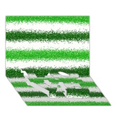 Metallic Green Glitter Stripes LOVE Bottom 3D Greeting Card (7x5)
