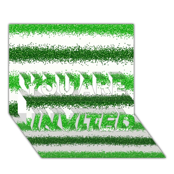 Metallic Green Glitter Stripes YOU ARE INVITED 3D Greeting Card (7x5)