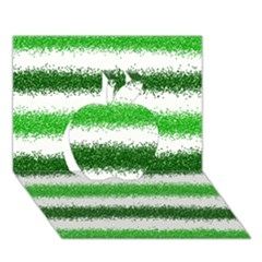 Metallic Green Glitter Stripes Apple 3D Greeting Card (7x5)