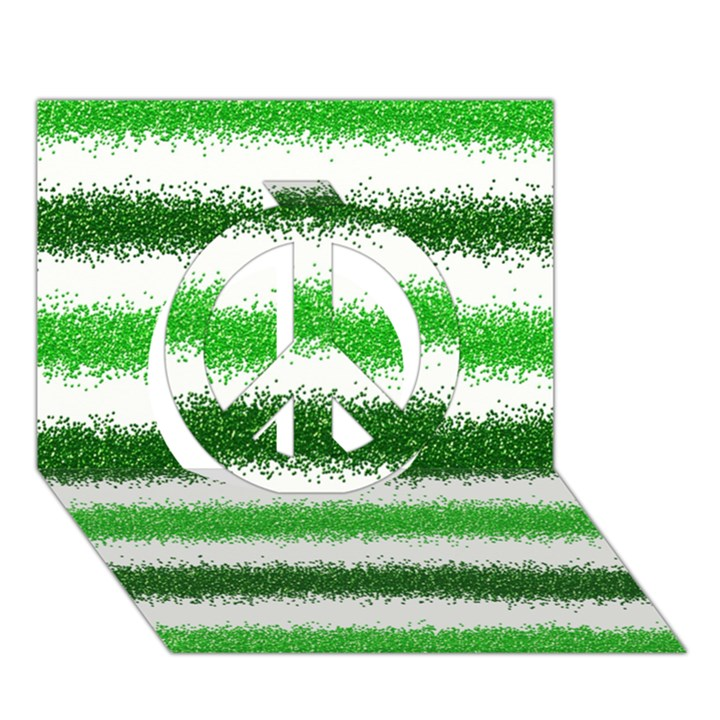 Metallic Green Glitter Stripes Peace Sign 3D Greeting Card (7x5)