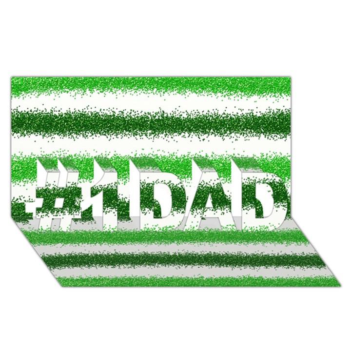 Metallic Green Glitter Stripes #1 DAD 3D Greeting Card (8x4)