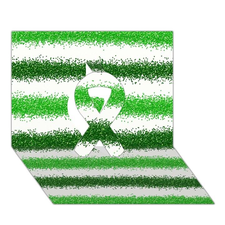 Metallic Green Glitter Stripes Ribbon 3D Greeting Card (7x5)