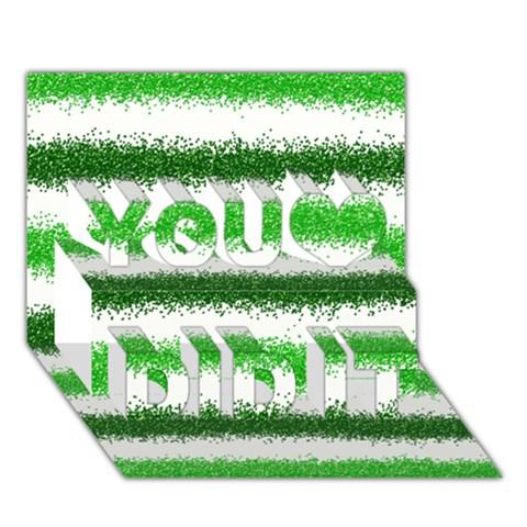 Metallic Green Glitter Stripes You Did It 3D Greeting Card (7x5)