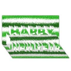 Metallic Green Glitter Stripes Happy New Year 3D Greeting Card (8x4)