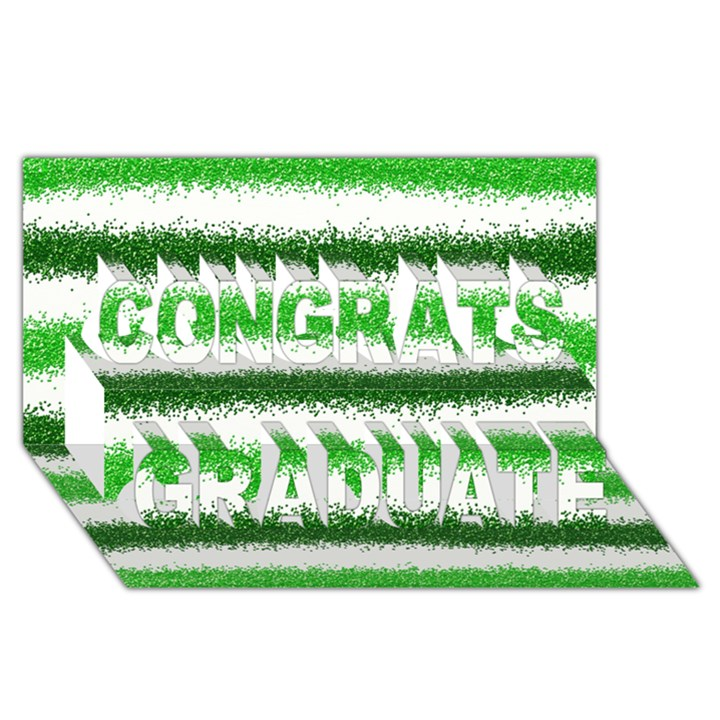 Metallic Green Glitter Stripes Congrats Graduate 3D Greeting Card (8x4)