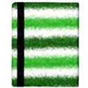 Metallic Green Glitter Stripes Apple iPad Mini Flip Case View3