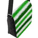 Metallic Green Glitter Stripes Flap Messenger Bag (L)  View2