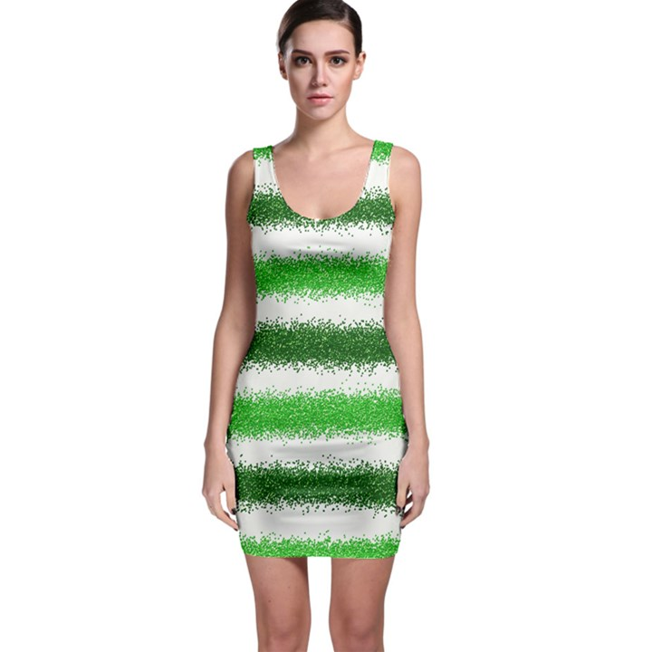 Metallic Green Glitter Stripes Sleeveless Bodycon Dress