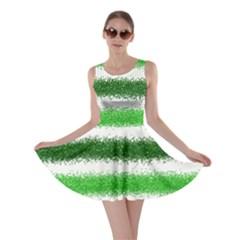 Metallic Green Glitter Stripes Skater Dress