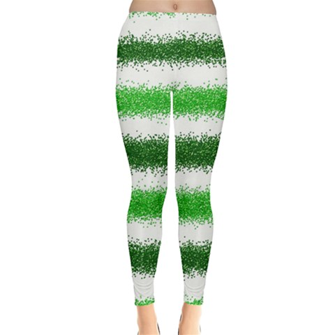Metallic Green Glitter Stripes Leggings