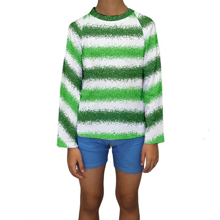 Metallic Green Glitter Stripes Kids  Long Sleeve Swimwear