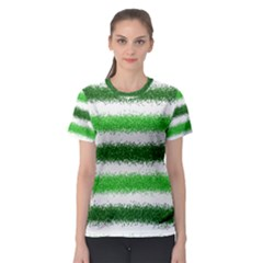 Metallic Green Glitter Stripes Women s Sport Mesh Tee