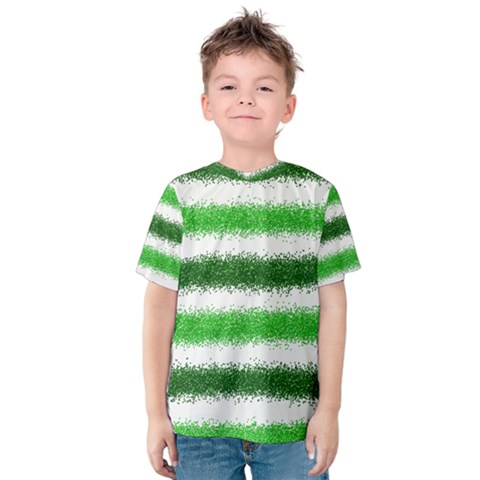 Metallic Green Glitter Stripes Kids  Cotton Tee