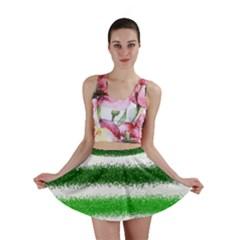 Metallic Green Glitter Stripes Mini Skirt