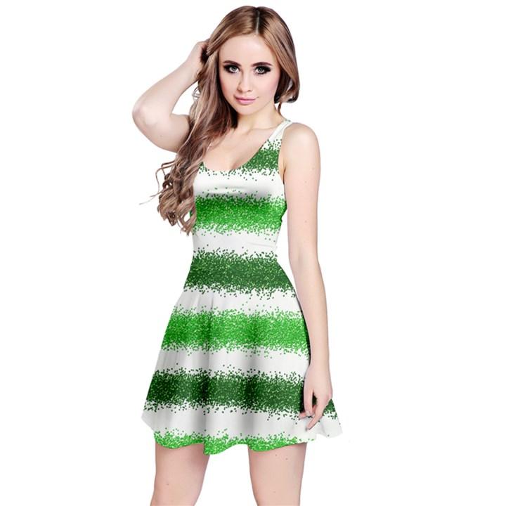 Metallic Green Glitter Stripes Reversible Sleeveless Dress