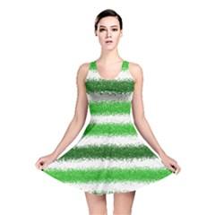 Metallic Green Glitter Stripes Reversible Skater Dress