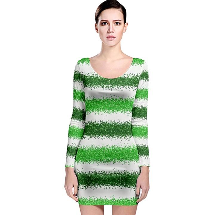Metallic Green Glitter Stripes Long Sleeve Bodycon Dress