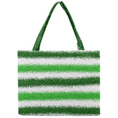 Metallic Green Glitter Stripes Mini Tote Bag