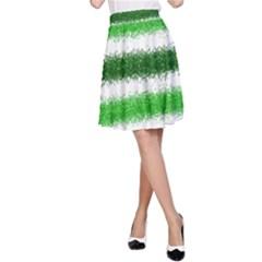 Metallic Green Glitter Stripes A-Line Skirt