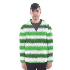Metallic Green Glitter Stripes Hooded Wind Breaker (Men)
