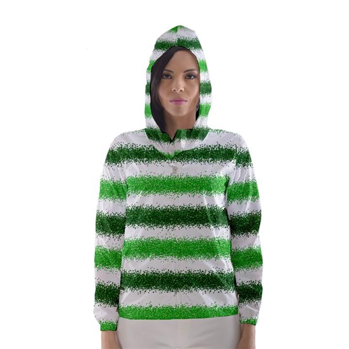 Metallic Green Glitter Stripes Hooded Wind Breaker (Women)