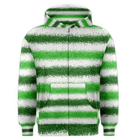 Metallic Green Glitter Stripes Men s Zipper Hoodie