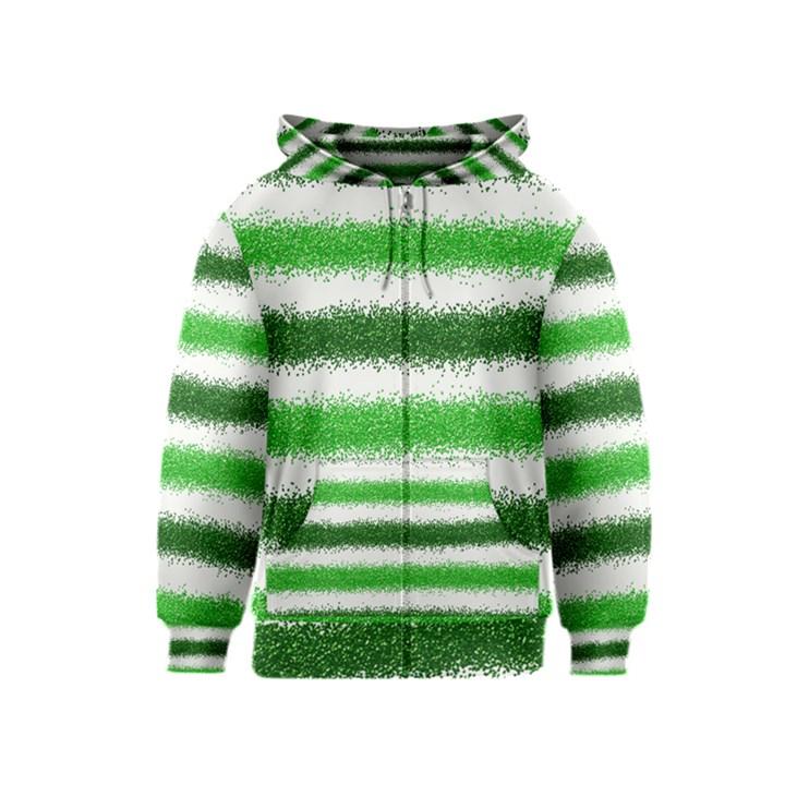 Metallic Green Glitter Stripes Kids  Zipper Hoodie