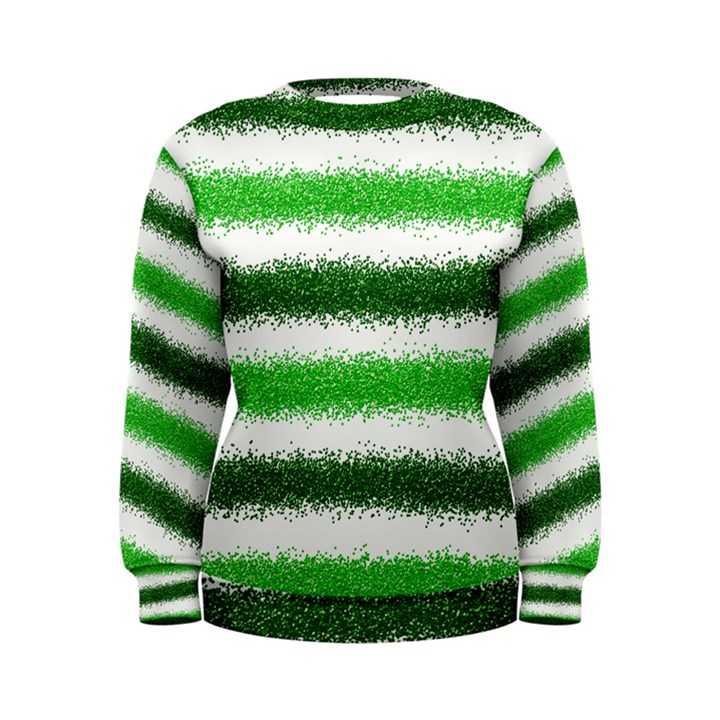 Metallic Green Glitter Stripes Women s Sweatshirt