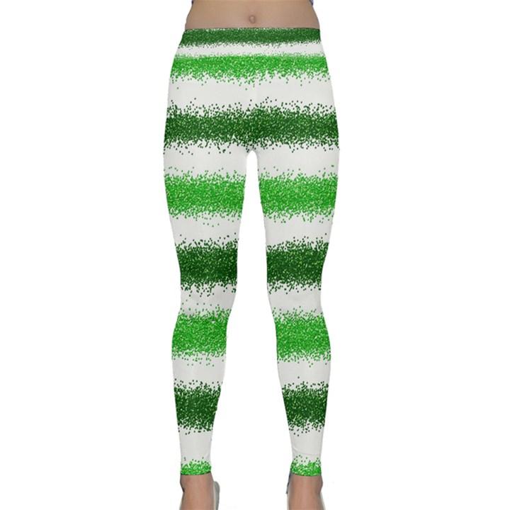 Metallic Green Glitter Stripes Yoga Leggings