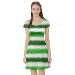 Metallic Green Glitter Stripes Short Sleeve Skater Dress