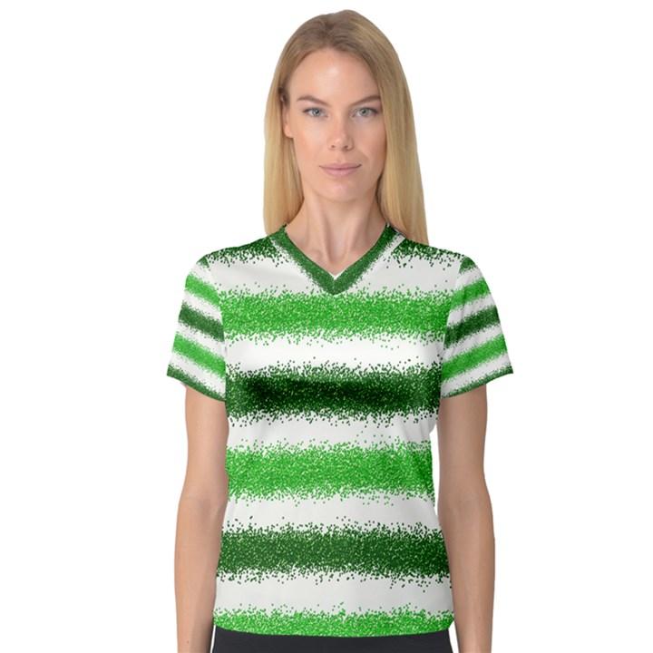 Metallic Green Glitter Stripes Women s V-Neck Sport Mesh Tee