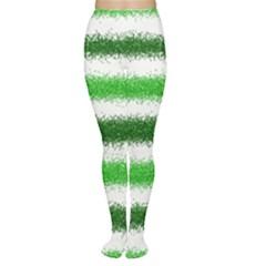 Metallic Green Glitter Stripes Women s Tights