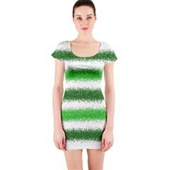 Metallic Green Glitter Stripes Short Sleeve Bodycon Dress