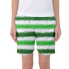 Metallic Green Glitter Stripes Women s Basketball Shorts