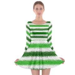 Metallic Green Glitter Stripes Long Sleeve Skater Dress