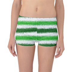 Metallic Green Glitter Stripes Boyleg Bikini Bottoms
