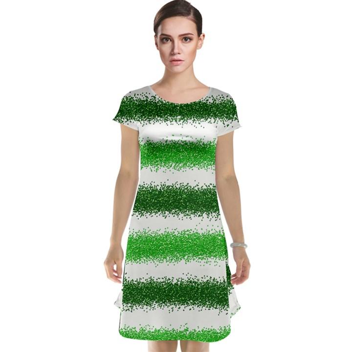 Metallic Green Glitter Stripes Cap Sleeve Nightdress