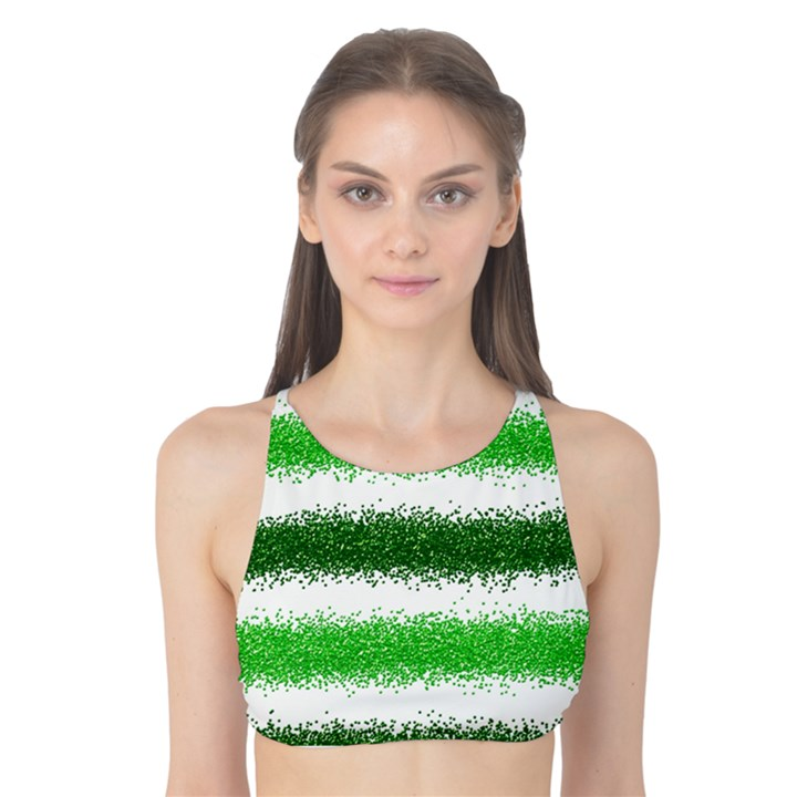 Metallic Green Glitter Stripes Tank Bikini Top