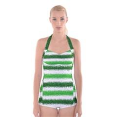 Metallic Green Glitter Stripes Boyleg Halter Swimsuit