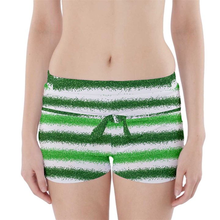 Metallic Green Glitter Stripes Boyleg Bikini Wrap Bottoms