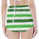 Metallic Green Glitter Stripes High-Waisted Bikini Bottoms View2