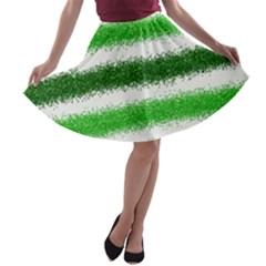 Metallic Green Glitter Stripes A-line Skater Skirt