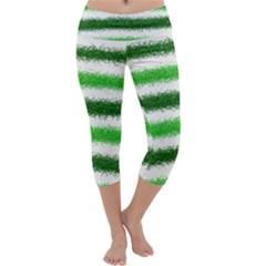 Metallic Green Glitter Stripes Capri Yoga Leggings
