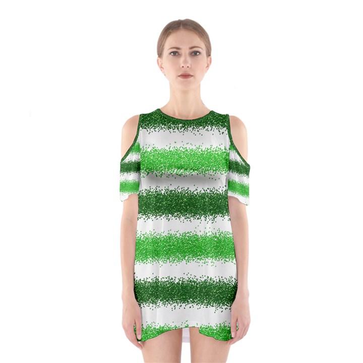 Metallic Green Glitter Stripes Cutout Shoulder Dress