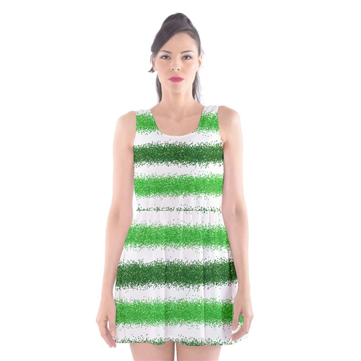 Metallic Green Glitter Stripes Scoop Neck Skater Dress