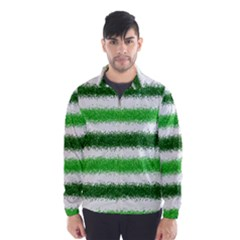 Metallic Green Glitter Stripes Wind Breaker (Men)