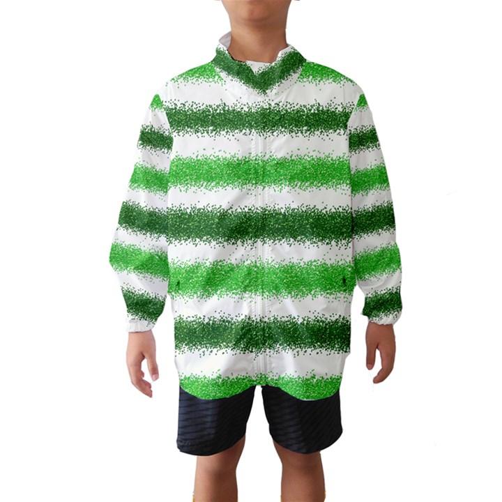 Metallic Green Glitter Stripes Wind Breaker (Kids)