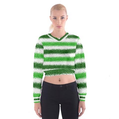 Metallic Green Glitter Stripes Women s Cropped Sweatshirt