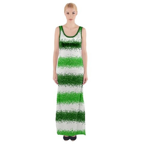 Metallic Green Glitter Stripes Maxi Thigh Split Dress